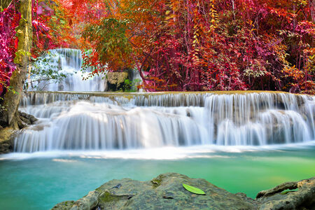 Beautiful waterfall in deep forest, Thailand photo