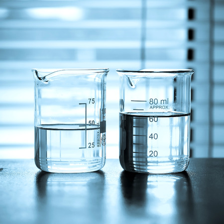Laboratory glassware with chemical liquid  photo