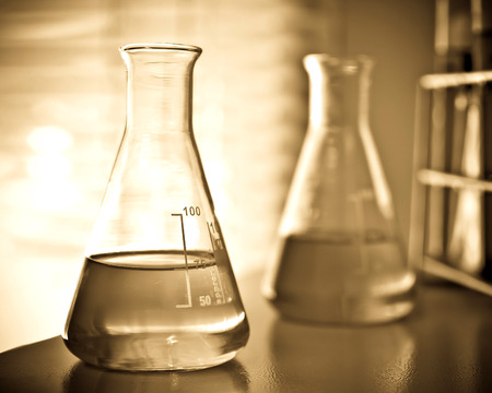 chemistry class: Laboratory glassware with chemical liquid