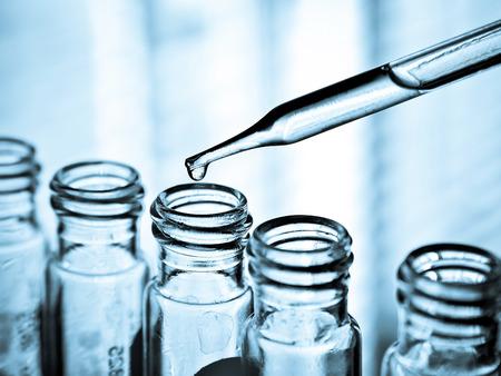 Dropping liquid to test tube, Laboratory
