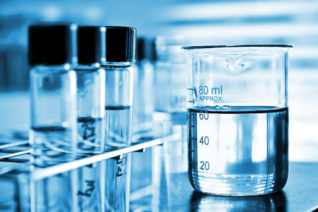 laboratory glassware, Beaker and test tube in rack Stock Photo
