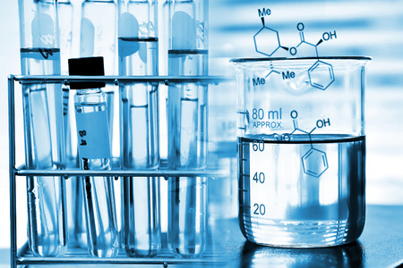 lighting technician: laboratory glassware, Beaker and test tube in rack Stock Photo