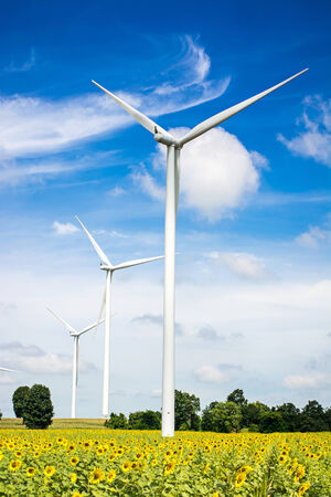 wind turbine with blue sky, renewable energy photo
