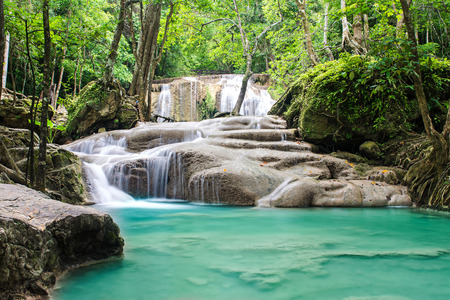 cataract waterfall: Erawan waterfall in tropical forest, Thailand