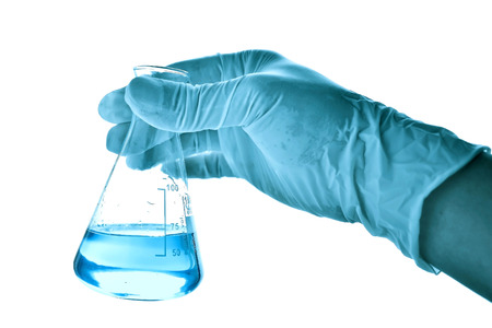 Conical flask in scientist hand
