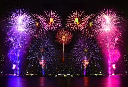 Beautiful firework display on the river Imagens - 41047237