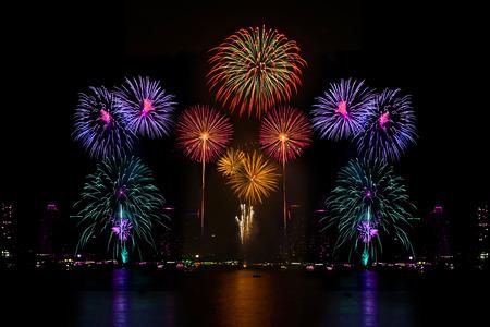 Beautiful firework display on the river