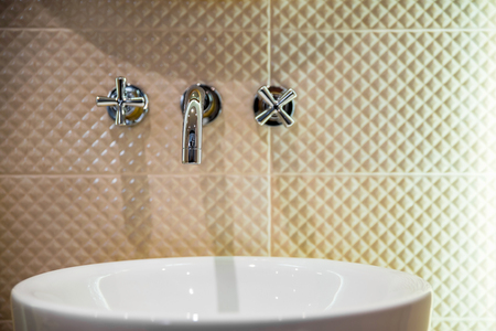 wash basin: wash basin and faucet in luxury bathroom Stock Photo