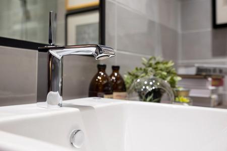 wash basin and faucet in luxury bathroom Foto de archivo