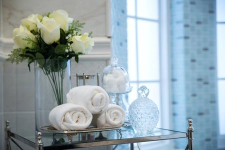 luxury bathroom: White towel in luxury bathroom