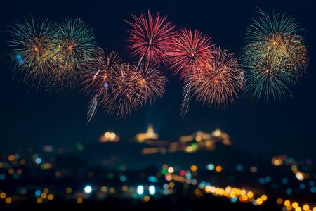 축하 아름다운 불꽃 놀이 축제