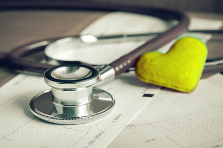 cardiogram: Stethoscope with heart and cardiogram Stock Photo