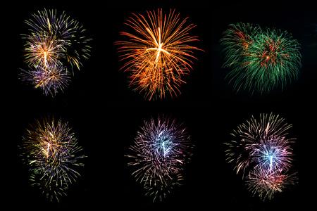 Mooie vuurwerkvertoning voor viering met onduidelijk beeld bokeh lichte achtergrond Stockfoto - 46622892
