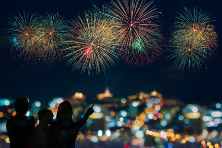 firework display: Beautiful firework display for celebration Stock Photo