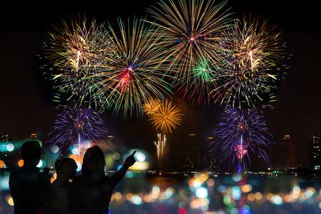 행복한 가족이 밤하늘에 축하 불꽃을 보이는 스톡 콘텐츠