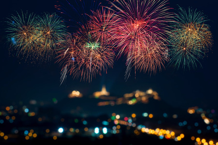 fireworks display: Beautiful firework display for celebration Stock Photo