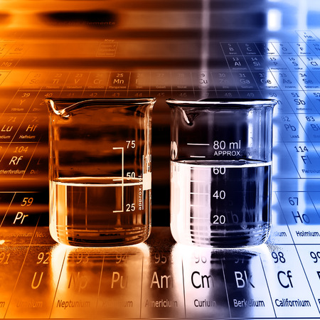Beaker with chemical fluids