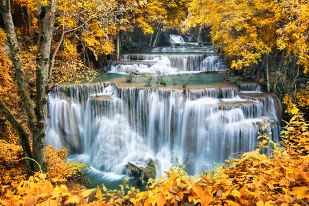 waterfall river: Waterfall in autumn forest