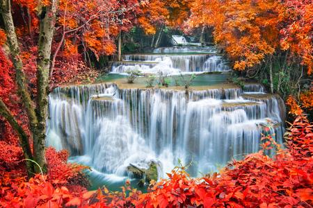 秋の森の中の滝 写真素材