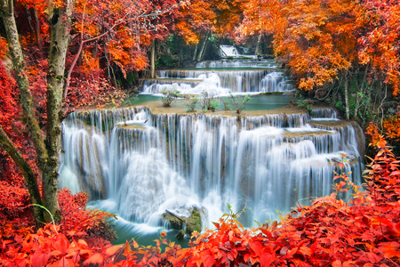 forest river: Waterfall in autumn forest