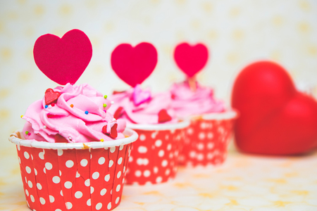 bake sale: Colorful love cupcake for Valentine day