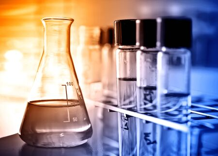 boiling tube: test tubes in rack and flask Stock Photo