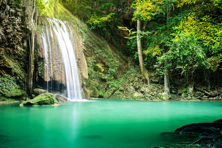 Beautiful waterfall in tropical forest Stock Photo