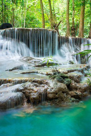 Amazing waterfall in tropical forest Stock Photo