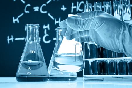 Laboratory glassware, science research and development concept