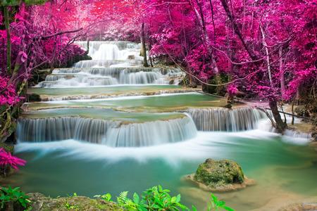 kanchanaburi: Beautiful waterfall in autumn forest