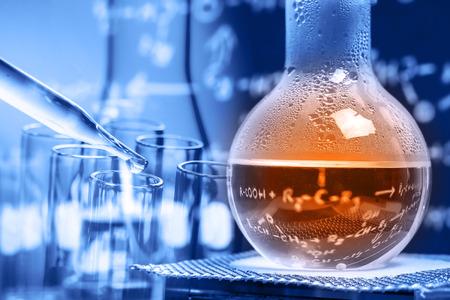 Laboratory glassware, chemistry science research and development concept Foto de archivo