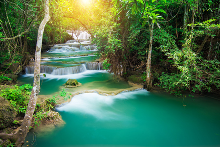 Beautiful waterfall in tropical forest, Thailand