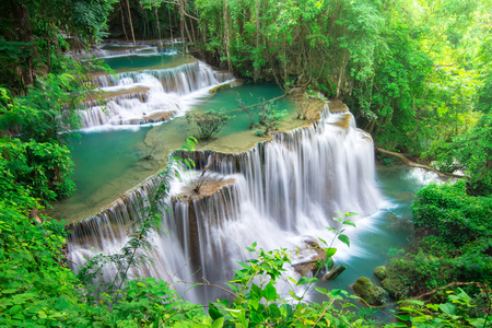 Beautiful waterfall in tropical tree forest