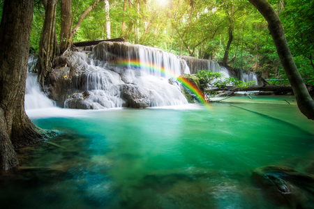 kanchanaburi: Beautiful waterfall in tropical forest Stock Photo