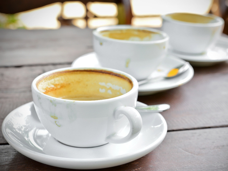 Row of Empty coffee cup Stock Photo
