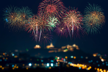 Colorful fireworks display on celebration night Stock Photo