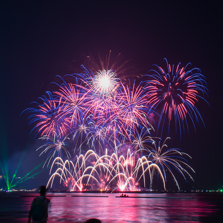 Beautiful firework display on celebration night, showing on the river