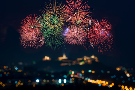 Beautiful firework display for celebration with blur bokeh light