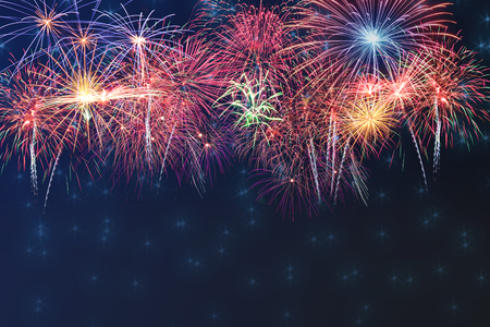 Beautiful colorful firework display on celebration night