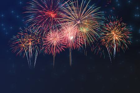 beautiful colorful firework display on dark sky for celebration night 스톡 콘텐츠