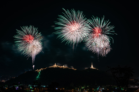 beautiful colorful firework display on dark sky for celebration night Stock Photo