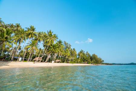 sand beach with coconut trees for summer vacation to tropical island concept for background. Stockfoto - 108943178
