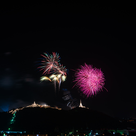 Beautiful Fireworks display on dark sky for celebration night 스톡 콘텐츠 - 108810482