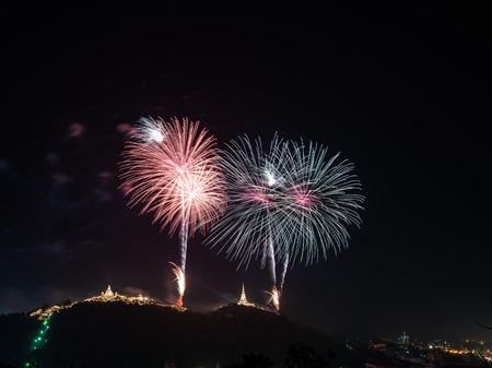 Amazing beautiful colorful fireworks display on celebration night with multi color