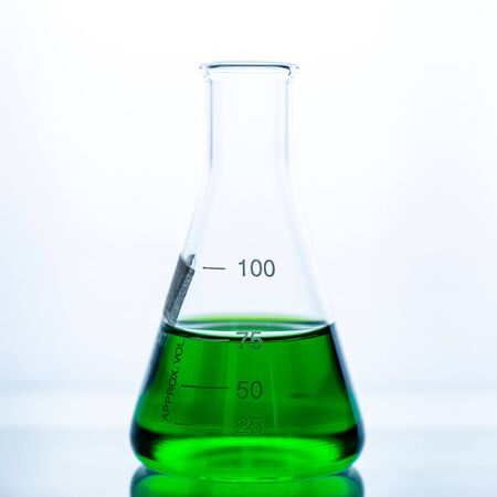lab glassware and test tubes in chemical laboratory background, science laboratory research and development concept