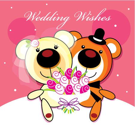 wedding bear Vector