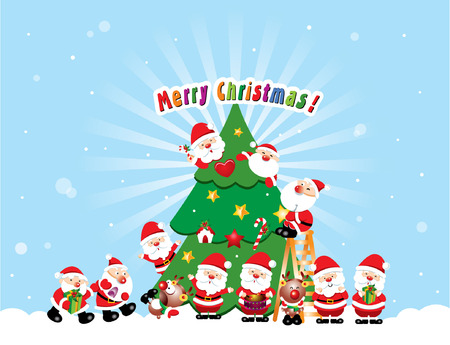 a group of santa decorate a christmas tree Stock Vector - 4480581
