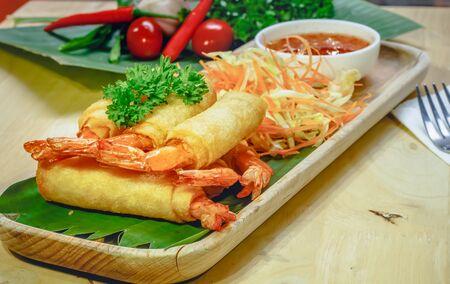 style: Spring rolls shrimp thai style.