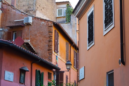 Colorful houses in Trastevere, a typical roman neighbourhood.