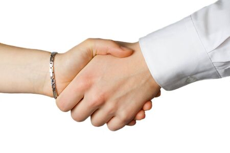 Hand shake between a woman and a man Zdjęcie Seryjne